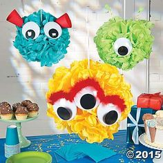 Create a monster themed party with these totally creepy cute monster pom-poms. Easy to make and a great addition to your monster themed party, all you need is a few party supplies. Little Monster Birthday, Monster 1st Birthdays, Monster Birthday Parties, First Birthday Parties, Birthday Party Themes, Boy Birthday, First Birthdays, Birthday Ideas, Monster Decorations