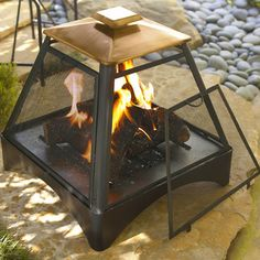 Pagoda Style Fire Pit with Copper Accent - traditional - Firepits - Atlanta - Iron Accents