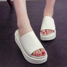 Sale 17% (16.57$) - Summer Casual Beach Platform Sandals Slip On Platform Slippers