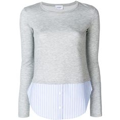 Dondup contrast flared-sleeve sweater (3.094.425 IDR) ❤ liked on Polyvore featuring tops, sweaters, grey, flared sleeve top, dondup, flared sleeve sweater, gray sweater and grey sweater