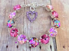 NEW Summers Heat Swarovski Bracelet Confetti Hand Swarovski Crystal Necklace, Swarovski Jewelry, Crystal Jewelry, Swarovski Crystals, Silver Color, Custom Jewelry, Jewelry Making, Bling, Hand Painted