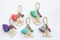 Charm Quote and tassel Keychains  Double Sided hand painted