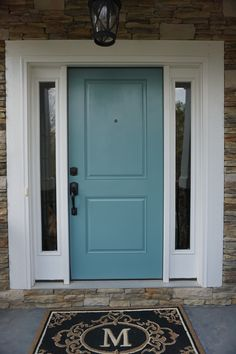 Home Renovation Front Door Sherwin Williams Moody Blue House Paint Exterior, Exterior Paint Colors, Exterior House Colors, Exterior Doors, Interior And Exterior, Exterior Remodel, Interior Paint, Front Door Paint Colors, Painted Front Doors