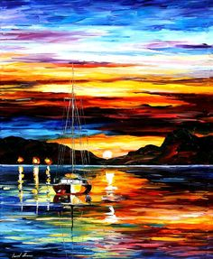 "Drowned Sunset — PALETTE KNIFE Modern Impressionist Seascape Sailing Yacht Art Oil Painting On Canvas By Leonid Afremov - Size 36"" x 30"""