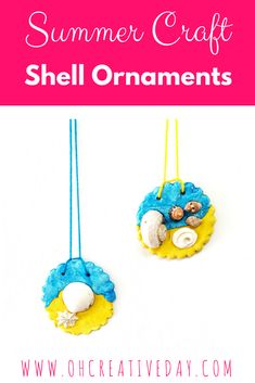 This summer craft for kids makes use of all the shells collected on beach walks and creates a hanging souvenir with clay. It's a perfect project for after a day spent at the beach. Summer Crafts For Kids, Diy Crafts For Kids, Fun Crafts, Art For Kids, Kid Art, Summer Art, Toddler Crafts, Creative Activities For Kids, Summer Activities For Kids