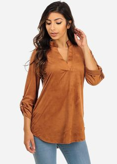 Faux Suede Roll-Up Sleeve Blouse Top (Brown)