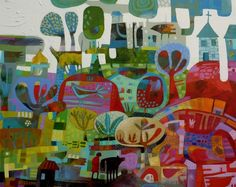 Image result for charlie o'sullivan Colorful Wall Art, Naive Art, Aboriginal Art, Mural Art, Landscape Art, Japanese Art, Art Pictures, Abstract Art, Abstract Flowers