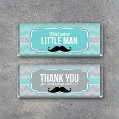 Little Man Baby Shower Candy Bar Wrappers by Studio120Underground