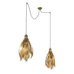 Vintage-Pendelleuchte-2-flammig-gold---Botanica Lamp Design, Indoor Lighting, Lamp, Vintage Pendant Lamp, Ceiling Lights, Pendant Lamp, Pendant Light, Vintage, Room Lights