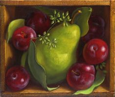 Denise Mickilowski Realist Still-Life Painting: Pear Plums 2012
