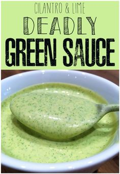 Deadly Green Sauce (Cilantro & Lime) - - This sauce is no joke good on EVERYTHING. I developed it when I started making my own chimmichangas and haven't stopped putting it on all my new rec. Mexican Food Recipes, New Recipes, Cooking Recipes, Favorite Recipes, Ethnic Recipes, Chutneys, Sauce Carbonara, Sauce Béarnaise, Cilantro Lime Sauce