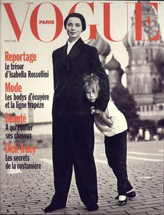 Film and the covers of Vogue Paris: Isabella Rossellini and her daughter Elettra on the October 1990 cover of Vogue Paris