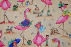 SALE 25% OFF Flamingo (flamingos) at the Beach - by Elizabeth Studios -  100 Percent Quality Cotton - Very Rare and OOP Collectible - $9.74 USD