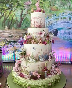 Alicia and wonderland Fairy Garden Cake, Garden Cakes, Fairy Cakes, Fairy Birthday Cake, Birthday Cake Girls, Gorgeous Cakes, Pretty Cakes, Rodjendanske Torte, Fantasy Cake