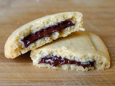 Shortbread Cookies with Chocolate. Reminds me of Keebler Magic Middle Cookies from the 1980's