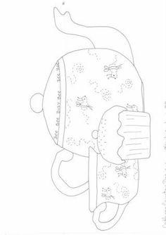 tea pot, tea cup and cupcake appliqué pattern: