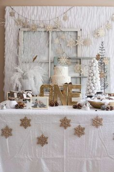 Rustic Winter ONEderland birthday party! See more party planning ideas at CatchMyParty.com!
