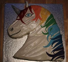 Not just a unicorn rainbow cake, but a sparkly rainbow unicorn cake! This cake was made to celebrate a birthday and was made from yummy chocolate fudge cake, and filled with strawberries and cream. Rainbow Unicorn Party, Unicorn Birthday, Edible Pearls, Horse Cake, Chocolate Fudge Cake, Edible Glitter, Square Cakes, Salty Cake, Cake Tins