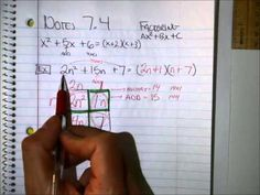 Factoring trinomials of the form ax^2 + bx + c where a is not equal to 1.  Using the box method.