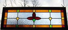LARGE Transom Traditional Cottage STAINED GLASS WINDOW panel - red tulip