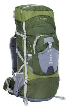 """ALPS Mountaineering Red Tail 3900 Internal Frame Pack, Green. Top pocket converts to a fanny pack; Rain cover included; Green, lightweight polyester ripstop; """"Webbing Ladder"""" adjustable harness. Front kangaroo pocket; Front stretch neoprene pocket; Top load w/extendable top lid; Spindrift collar with draw cord; """"Over The Top"""" compression strap. Rescue whistle buckle on sternum strap; Hydration pocket and port; Multiple side compression straps; Lower neoprene side bottle pockets. Lower..."""