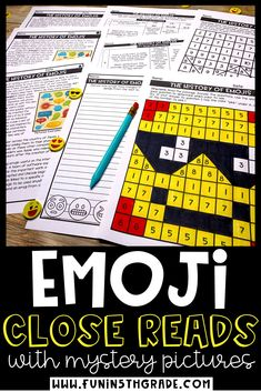 Emoji Close reads with mystery pictures are high interest passages to teach upper elementary students the strategies to close read.  Comes with 3 different passages that are differentiated to 3 different levels. Includes nonfiction and fiction reading comprehension passages as well as mystery pictures, graphic organizer, writing prompts and text dependent questions.
