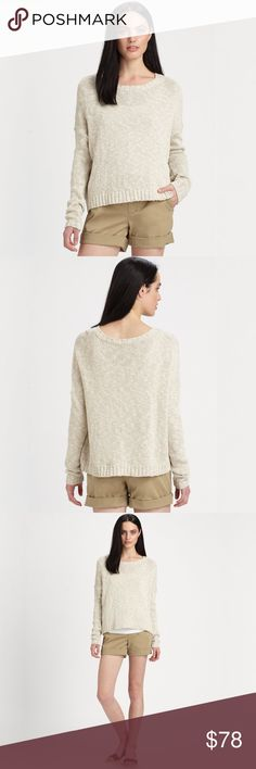 """VINCE boxy drop sleeve cotton linen pullover A slouchy, drop shoulder design refined in a cozy italian cotton/linen blend. Featuring a ribbed boatneck, long ribbed cuff sleeves, ribbed hem, and pullover style.  Beautiful Gently-Loved Condition, No Signs of Wear  MSRP: $255 Materials: Cotton, Linen Color: Natural (Beige)  Length: 26"""" (shoulder to hem) Vince Sweaters Crew & Scoop Necks"""