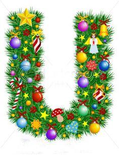 Letter U Christmas Tree Decoration Alphabet stockvector (rechtenvrij) 7027618 Holiday Fonts, Christmas Fonts, Christmas Crafts For Gifts, Christmas Printables, Christmas Art, Christmas Tree Decorations, Christmas Ideas, Decorative Alphabet Letters, Alphabet Letters Design