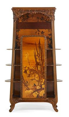 """LOUIS MAJORELLE (1859 - 1926) marquetry étagère with flowers and frogs, France, ca. 1900, unmarked, 75"""" x 40"""" x 17"""""""