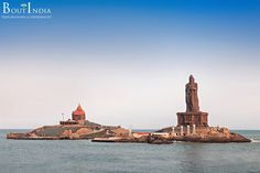 Vivekananda Rock Memorial and Thiruvalluvar Statue in Kanyakumari, the southernmost tip of Indian mainland. Sorrounded by sea from 3 sides, this enchanting place is in fact a confluence of 3 seas - Arabian Sea (west), Indian Ocean (south) and Bay of Bengal (East).   #Vivekananda #ThiruvalluvarStatue #Kanyakumari #ArabianSea #IndianOcean #BayofBengal #India