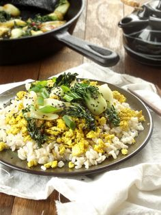 Gingered Baby Bok Choy Stir Fry With  Scrambled Tofu Over Coconut Rice