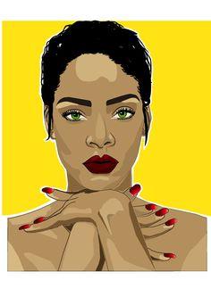 A digital illustration of Rihanna I very recently did.