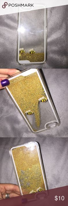 IPHONE 6 case - glitter with bees Adorable phone case - as you turn it, the glitter moves around and the bees float around in the gold glitter! Then the glitter settles when in vertical position Accessories Phone Cases