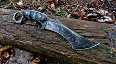 HavocWorks TER-R  3/16ths 1084 FG with an overall length of 9.5 inches and a 5 inch blade. Acid washed finish with black canvas micarta scales and brass pins. kydex sheath.