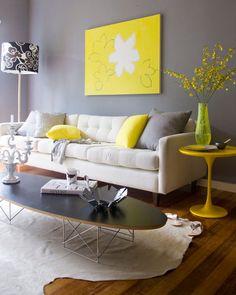 Cinza e amarelo + sofá bege                                                                                                                                                     Mais