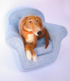 Felted dog and chair