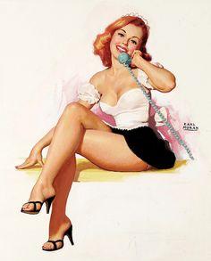 Pinup calling :) #vintage #pinup #girl #art