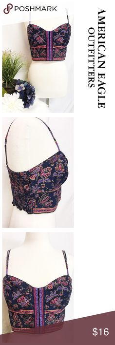 Boho Floral Crop Top by American Eagle ~~ Boho Floral Crop Top by American Eagle ~~ Size L ~~ Bust 32 (stretches to 36) ~~ Length 9.5 ~~ Adjustable straps ~~ Elastic back ~~ Navy blue/purple/pink in color ~~ 100% cotton ~~ Like new, no flaws ~~ All clothing comes freshly laundered, hand washed or dry cleaned unless NWT ~~ NO TRADES PLEASE 💕 American Eagle Outfitters Tops Crop Tops