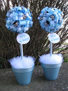 Banana Lala: {It's A Boy!} Baby Shower Topiaries in Light Blue and Brown