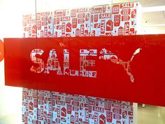 At the mall yesterday you couldn't believe the sales signs and the discounts they were offering. Sale Signage, Retail Signage, Puma Store, Window Display Retail, Window Graphics, Retail Store Design, Sale Store, Store Windows, For Sale Sign