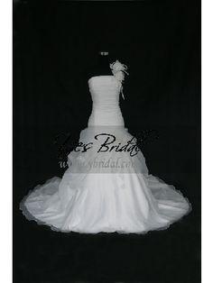 Ball Gown One-shoulder Chapel Train Organdy Wedding Dress WBG0075