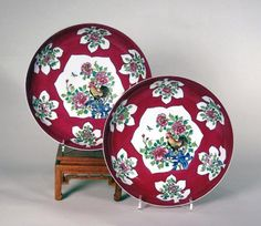 Fine Pair of Famille Rose ruby Back Eggshell Porcelain Dishes, Yongzheng/Qianlong period, ca: mid-18th century