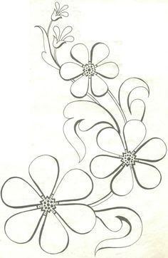 Adult coloring page Floral Embroidery Patterns, Hand Embroidery Designs, Applique Patterns, Flower Patterns, Beading Patterns, Embroidery Stitches, Machine Embroidery, Flower Embroidery, Motif Art Deco