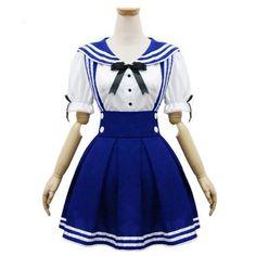 Onecos Retro Sailor Dress Waist Strap Lolita Student Skirt Cosplay Costume -- For more information, visit image link.