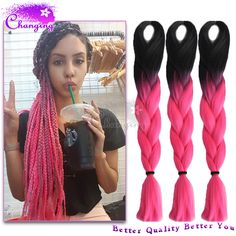 10pcs/Lot Ombre Kanekalon Braiding Hair 1B/Pink Kanekalon Jumbo Braid Two Tone Xpression Braiding Hair Synthetic Box Braids Hair-in Hair Weaves from Health & Beauty on Aliexpress.com | Alibaba Group