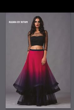Stunning modern lehenga love the colours and the sleeves, really like the hair and makeup to