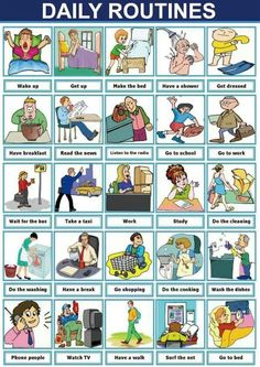 Useful English Phrases to Describe Your Daily Routines – ESL Buzz English Verbs, Kids English, English Phrases, English Study, English Grammar, English Posters, Games In English, Daily English Vocabulary, Frases