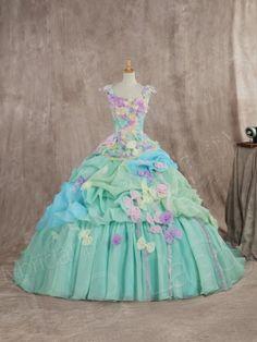 カラードレス プリンセスライン グリーン リボンいっぱい 袖付き 多色組み合わせ 可愛いデザイン JWJT14002