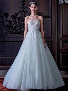 Monique Lhuillier silk strapless ball gown wedding dress from Spring 2016