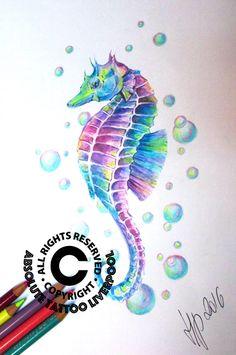 seahorse colours tattoo